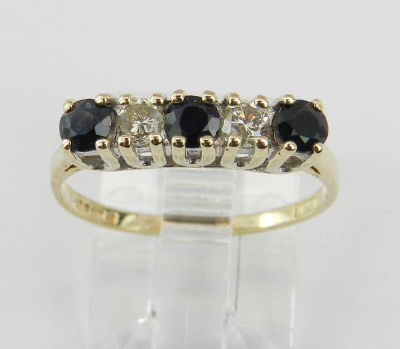 Estate Yellow Gold Diamond and Sapphire Wedding Ring Anniversary Band Size 6