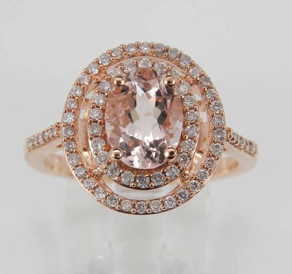 Morganite and Diamond Double Halo Engagement Ring 14K Rose Gold Size 7