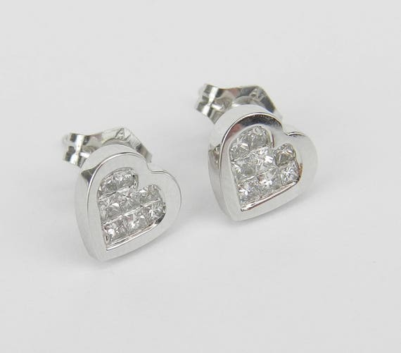 Diamond Heart Stud Cluster Earrings Wedding Studs Love Gift 14K White Gold