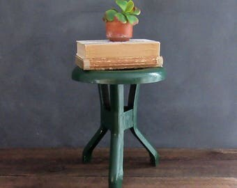 3 Legged Metal Milk Stool, Rustic Farmhouse Decor, Green Metal Milking Stool