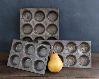 Primitive Rusty Distressed Muffin Tins, 3 Sizes Available, Farmhouse Muffin Tins, Craft Storage, FREE SHIPPING