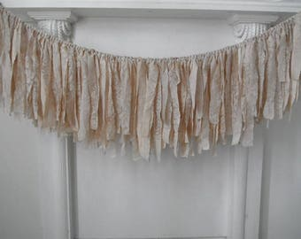 taupe garland coffee stained garland aged rag garland cottage decor rustic chic winter wedding decor shabby decor nursery garland - 4 feet
