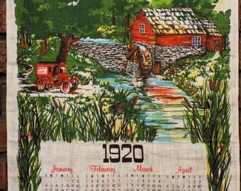 Vintage 1920 Calendar Tea Towel - 1970s Hickory Farms Promo