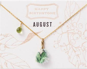 August Birthstone Necklace : Peridot with Liberty Tassel