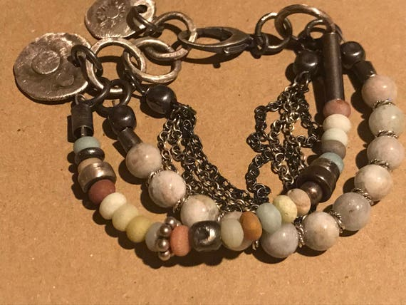 Multi strand Gemstone Bracelet - Sterling Silver Bracelet