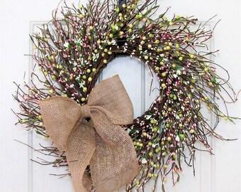 Wedding Shower - Spring Wreath - Pink Green & White Berry Wreath - Wedding Wreath - Summer Wreath - Storm Door Wreath - Pip Berry Wreath