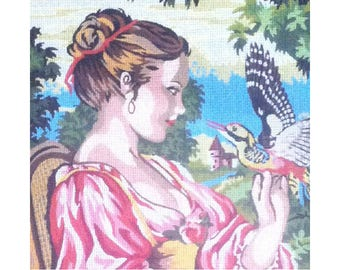 ETOILE PARIS Vintage Needlepoint Canvas #401 - Very Large 60 X 80 (Unfinished) Suitable for Framing-Canvas Only-Colour Chart Woman and Bird