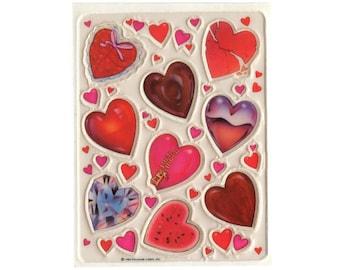 Vintage 80's HALLMARK Stickers Sheet ~ PUFFY HEARTS Diamond Gem Watermelon Valentine