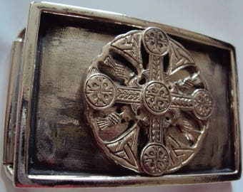 "Solid Sterling Silver ""Celtic Cross"" Belt Buckle"