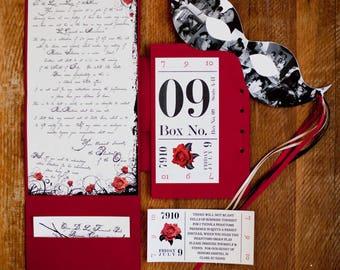 Romantic Theatrical, Phantom of the Opera, Personalized Wedding Invitation, Theme Party, Phantom Letter Style Invitation Design DEPOSIT