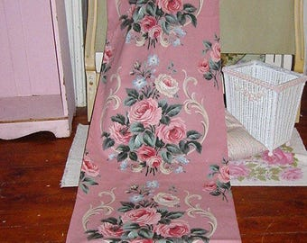 RESERVED Vintage Pink Barkcloth Era Roses Fabric Yardage Available Pink Cabbage Roses