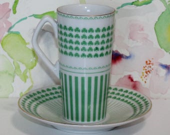 Vintage Shamrock, Green and White, Demitasse, Espresso Cup and Saucer Set, Neiman Marcus