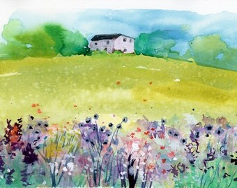Original Watercolor Painting, Landscape, Fine Art, Nature, Modern Art, Minimalist, Garden Floral, Abstract Art, Bohemian