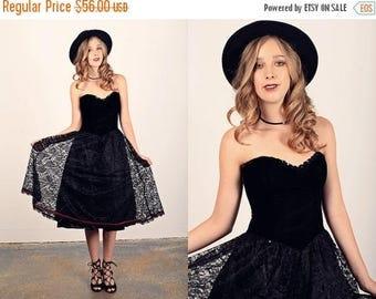 FLASH SALE 80s Strespless Lace Dress Vintage Black Velvet Party Dress