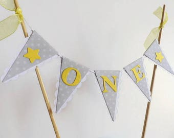 Grey and Yellow First Birthday Smash Cake Topper - ONE Cake Bunting - Polka Dots and Stars