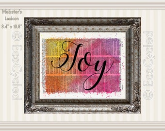 Joy Inspirational Quote on Vintage Upcycled Dictionary Art Print Book Art Print Recycled meditation mindfulness gift motivational art