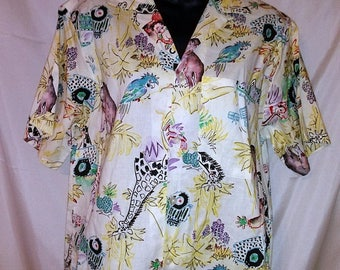 "BIG SUMMER SALE 70s Vintage Novelty Print-Hawaii Mans Mod Shirt-Collar Loop-Bonhomme-Beach-42"" Chest-Medium-Resort-Funny Animal Print"