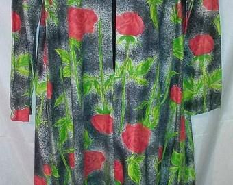 BIG FALL SALE 70s Vintage Mod Rose Print-Poly Lounge Wear Robe Maxi Caftan-Medium-Butterfield 8