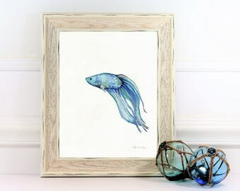 Beta Blue, Beta Fish, Watercolor Print, wall art