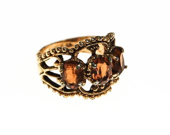 Smokey Topaz Crystal Three Stone Wide Band Ring, Ring Size 6