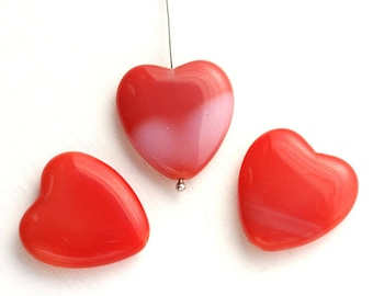 Huge heart beads, czech glass Red hearts, mixed red color, pressed beads, true love - 24x22mm - 3Pc - 2064