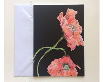 Fine Art Greeting Card, Poppies, Botanical, Red Flower, Kylie Fogarty, Blank Greeting Card