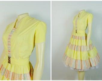 Vintage Dress Kate Schorer Festive Yellow Patio Dress / Western Square Dance Dress w/ Matching Belt Modern Size XL - XXL