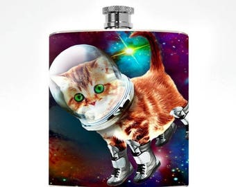 Space Kitty Flask Drinking Gifts Womens Flask Hipster Girl Hip Flask Nerdy Birthday Kitten Accessories Funny Flask Cat lover Person Pocket