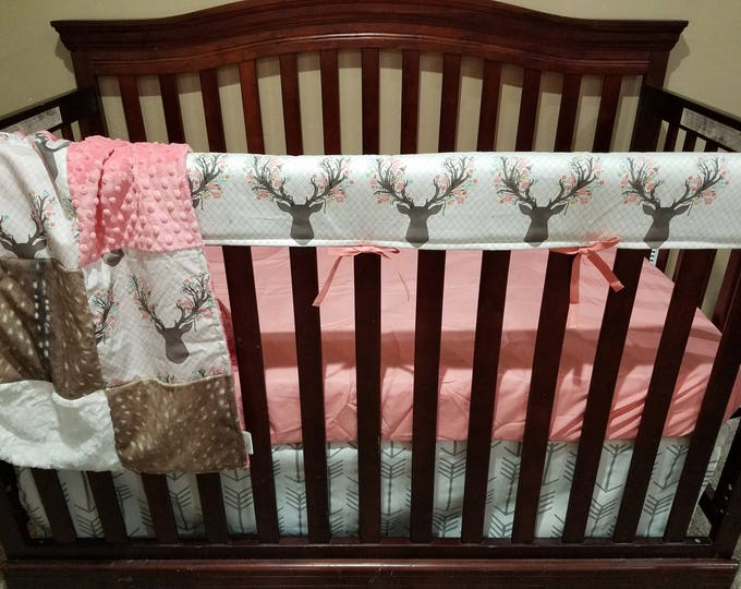 Featured listing image: Baby Girl Crib Bedding - Tulip Fawn, Deer Skin Minky, White Tan Arrow,Ivory Crushed Minky and Coral Crib Bedding Ensemble