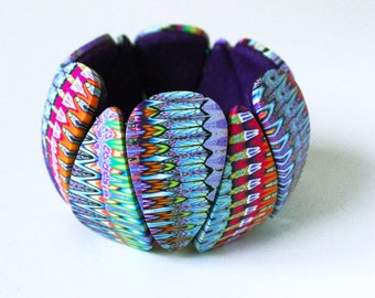 Polymer Clay Bracelet, Polymer jewelry, tribal bracelet, wearable art, OOAK, handmade, DIY, tiles bracelet, elastic bracelet, women gift
