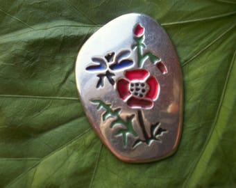 Vintage Colorful Enamel Flower Sterling Brooch Made in Israel