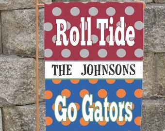 Custom House Divided Yard Flag Alabama Florida Gators Georgia Dogs Auburn  Or You Pick Team House