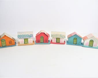 Vintage Set of 6 Small Putz House - Six Small Cardboard Putz Houses