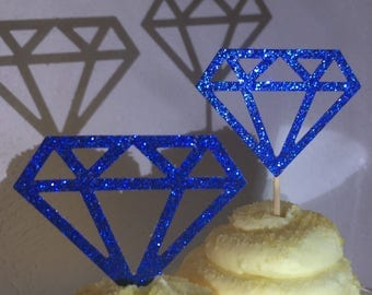 12 Sapphire Blue  Diamond Diamonds  Cupcake Toppers Topper Wedding Bride Engagement Ring