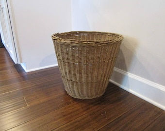 Vintage Large Wicker Basket - Umbrellas, Toys, Blankets