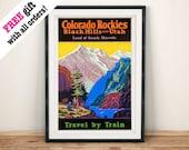 COLORADO ROCKIES POSTER: Vintage American Travel Train Print