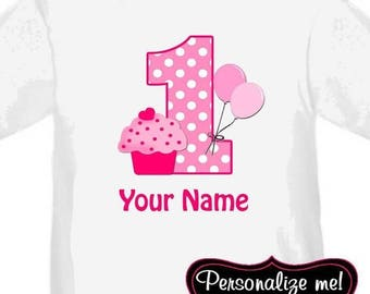 ON SALE Pink Cupcake Personalized Birthday Shirt - ANY Age