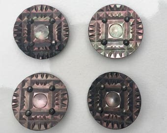 Vintage Shell and Marcasite Large Buttons Set of Four 1920s Art Deco