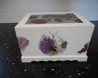 Jewellery box, one of a kind, white with purple hydrangeas and butterflies, imitation pearls, silver colour wire handmade catch