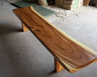 Live Edge Acacia Wood Solid Slab Bench