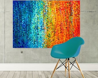 Large Canvas Art Print - Teal & Orange Canvas Picture - Large Turquoise Orange Sunset Abstract Impressionist Canvas Print Wall Art Picture