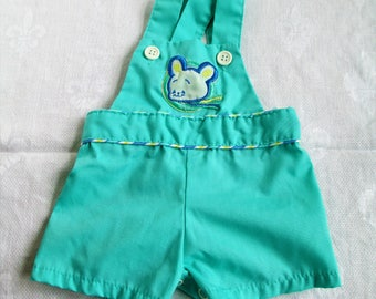 Vintage Adorable Baby Sunsuit Shortall Romper Green with Embroidered Bear Size 3 mos  Vintage Baby Or Doll Clothes
