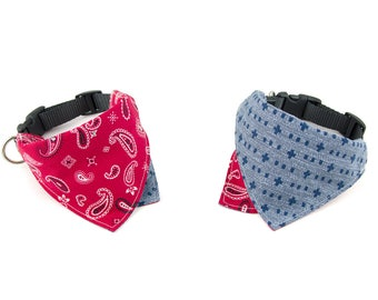Americana / Red Reversible Dog Bandana Collar