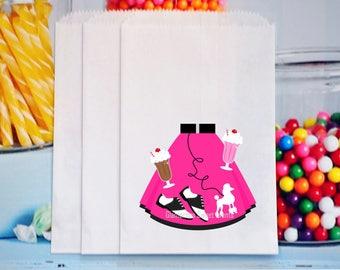 Twelve 1950's Goody Bags, 1950's Treat Bags, 50's Candy Bags, Poodle Skirt Treat Bags, Candy Buffet Bags
