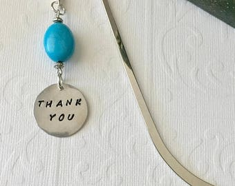 ON SALE / THANK You Bookmark - Turquoise - Gratitude, Caregiver, Hospice, Teacher, Tutor, Doctor, Book Club, Office Mate, Retirement, Thanks