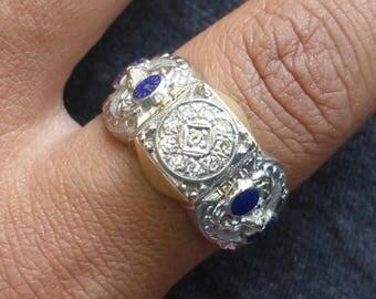 Large Heavy Mens 14k 10k  Diamond vintage BPOE Elks club fraternal  enamel Benevolent and Protective Order of Elks ring