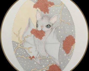 Original art berry eating bat lowbrow fantasy art