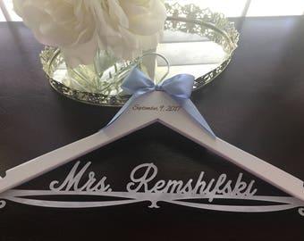 Wedding Hanger, Personalized Bride Hanger, Brides Hanger, White Pearl Hanger, Bling Hanger, Pearl Hanger, Pearlized Acrylic Wedding Hanger