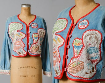 70s Embroidered Crop Jacket Custom Quilted Hippie Jacket