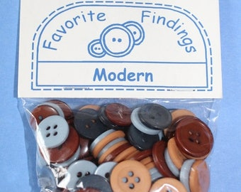 15% OFF - 130 Pack Favorite Finding Blues and Browns Buttons Two Hole Sew Through